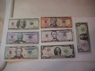 DEAD PRESIDENTS  7 NOTES  1 2 5 10 20 50 100 China Bank Teller's  tr. bills  (a)