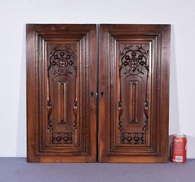 """Pair of 24"""" Tall French Antique Carved Panels in Walnut Wood with Nautical Theme"""