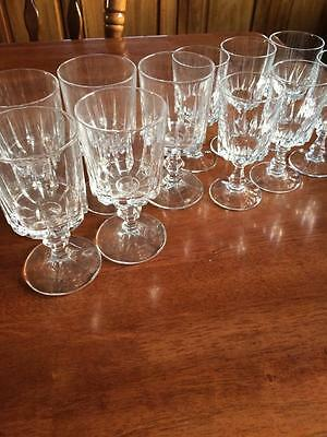 Vintage Set Crystal Glasses 6 Sherry & 5 Wines Wedding Party Glasses