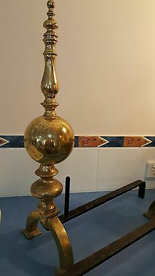 2  cast iron & brass andirons  FIRE DOGS. Local pick  OR arrange own courier