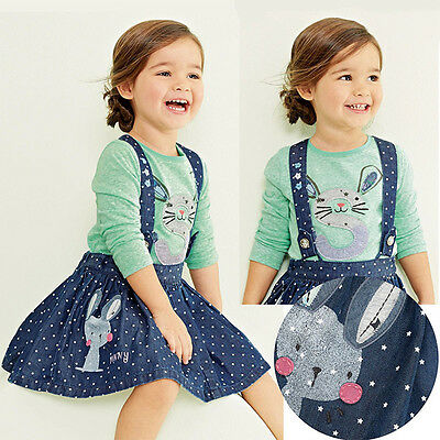 2pcs Cute Long Sleeve Bunny Pattern T-Shirt with Denim Suspender Skirt for Girls