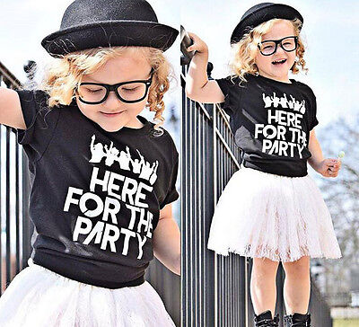 2pcs Chic Short Sleeve Letter Printed Girls T-Shirt Floral Lace Skirt