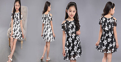 Fashion Girls Floral Printed Chiffon Princess Dress