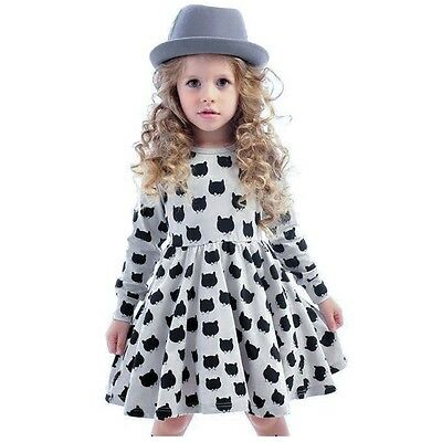 Lovely Cat Printed Girls Comfort Cotton Long Sleeve Dress
