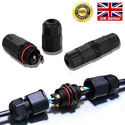 2/3 Pins IP67 Waterproof Electrical Cable Wire Connector Outdoor Underwater Plug