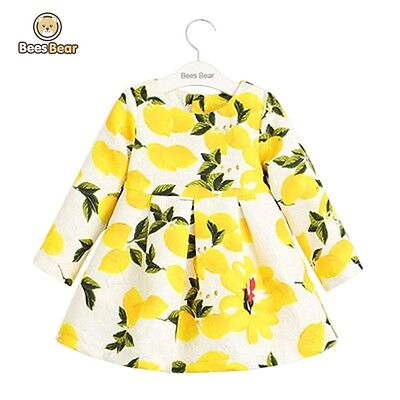 Lemon Print Long Sleeve Round Neck Girl's Dress