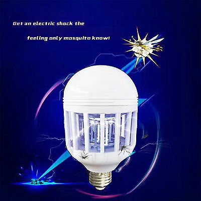 LED Anti-Mosquito Bulb light 12W E27 Electronic Insect Fly Killer Trap Lamp Bulb