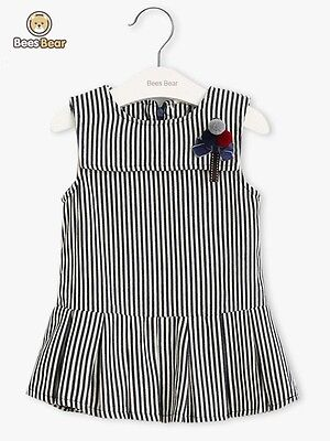 Cute Striped Bowknot Embellished Pleated Dress