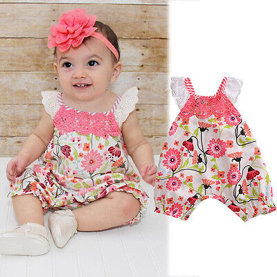 Floral Toddler Baby Girls Lace Cotton Romper Jumpsuit Bodysuit Clothes Outfits