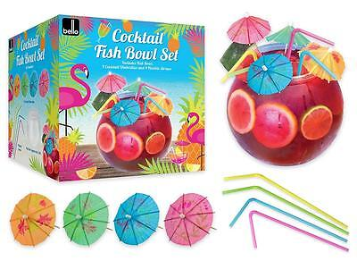 Cocktail Fish Bowl Drinking Set With Flexi Straws & Umbrellas Bello 2.8L Plastic