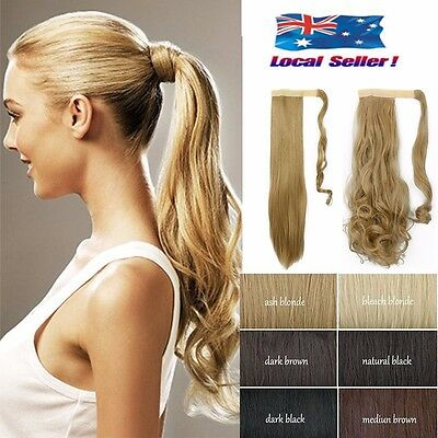 Long Thick Ponytail Hair Extensions Clip in Pony Tail Blonde Brown 17/23inch DG0