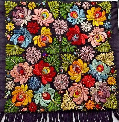 Hungarian Silk MATYO Embroidery Apron, Colorful Flowers on Black