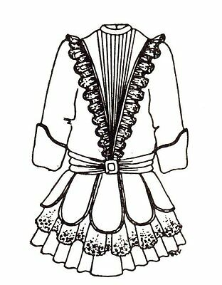 "Period Dress outfit French German Victorian  PATTERN for a 20"" to 21"" Doll 61"