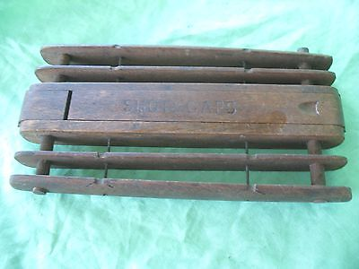 Old vintage fishing wooden fishing tackle rig winder shot & caps compartment