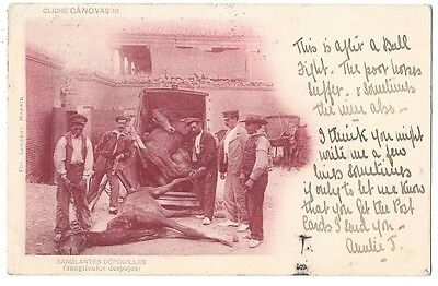 SPAIN Bloody Remains of Horses After a Bullfight, Old Postcard Postally Used 190