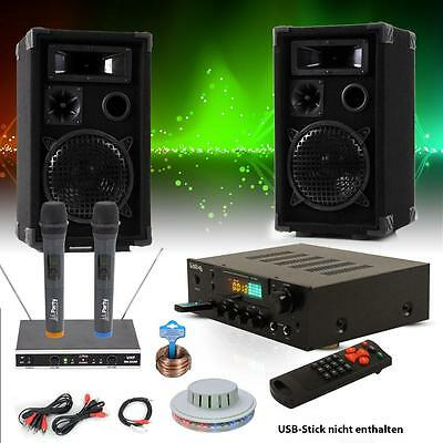 Karaoke Musik System USB SD MP3 Bluetooth Receiver RGB LED Discolicht Funk Mikro