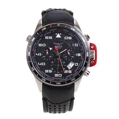 Aviator Mens World Time Pilot Black Leather Watch AVW1265G14