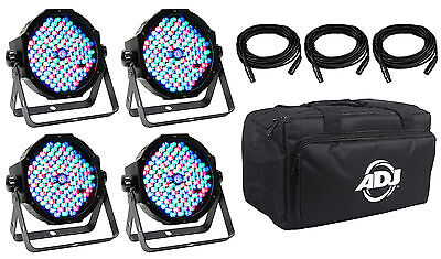 American DJ MEGA FLAT PAK PLUS 4x Mega Par Profile +3x 6'DMX Cables +Travel Bag