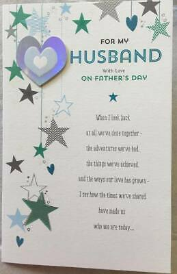 Husband fathers day card 099 picclick uk husband hanging hearts stars sentiment high quality fathers day greeting card m4hsunfo