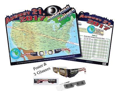 Solar Eclipse Map Poster & 3 pairs of ISO Certified Glasses - Folded & Sleeved