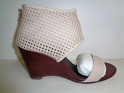 0b82baa39b25 ALL BLACK Size 7.5 Eur 38 HALF WILD Ivory Leather Wedge Sandals New Womens  Shoes