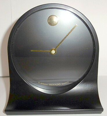 "Rare Movado Museum Dial Clock Black & Gold & Metal Works Perfectly 6"" Tall"