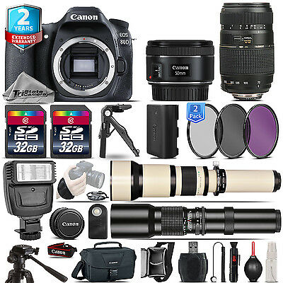 Canon EOS 80D DSLR Camera + 50mm 1.8 STM + 70-300mm + 2yr Warranty - 64GB Kit