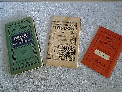 Vintage Geographia Cloth Map England & Wales / Isle of Wight / Authentic London