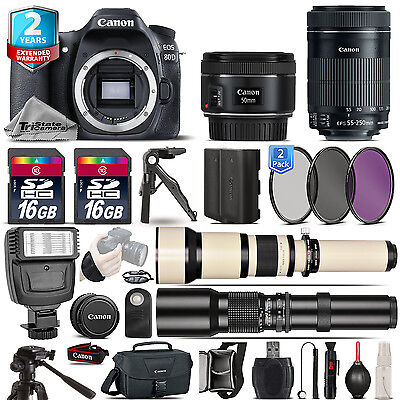 Canon EOS 80D DSLR Camera + 50mm 1.8 + 55-250mm IS STM + EXT BATT + 2yr Warranty
