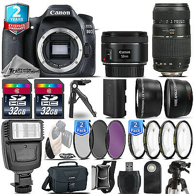 Canon EOS 80D DSLR Camera + 50mm 1.8 STM + 70-300mm + 2yr Warranty- 64GB Kit
