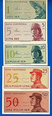 Indonesia P-90, P-91, P-92, P-93, P-94 Uncirculated Banknotes Set # 2