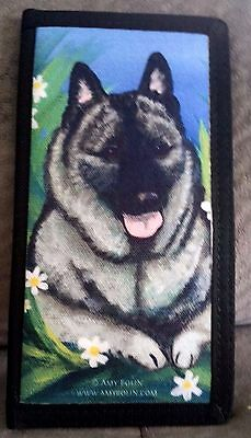 NORWEGIAN ELKHOUND DOG CHECKBOOK COVER by Amy Bolin DASIES