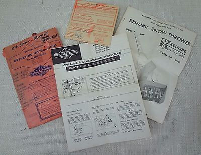 1961 Vintage Snow Thrower Kee Line Briggs Stratton Operating Maintenance Manual