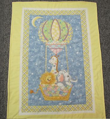 New baby crib quilt Hot Air Balloon Giraffe Elephant Lion