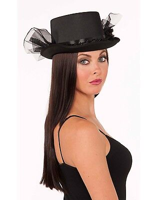 Black Top Hat With Ruffle & Netting Womens Steampunk Accessory