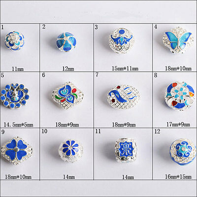 Cloisonne Enamel round square  filigree silver plated bronze spacer loose beads