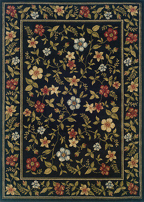 """Sphinx Black 2 x 8 Floral Border Leaves Runner Area Rug - Approx 1' 10"""" x 7' 3"""""""