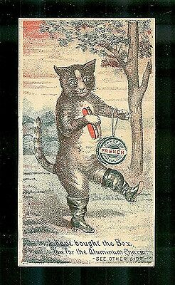Mr. Cat Wearing Shiny Black Boots-1880s Victorian Trade Card-Shoe Blacking