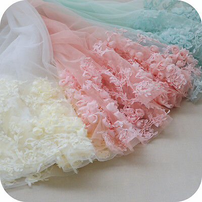 3D Floral Fabric Embroidery Mesh for Wedding Dress Lace DIY Accessories 100*65cm
