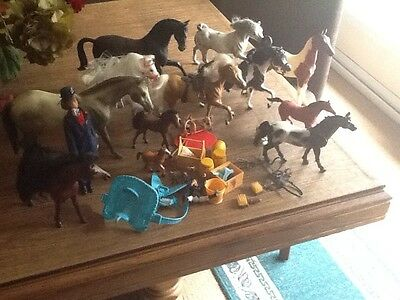 ASSORTMENT OF DIFFERENT  ( Breyer,Marchon,etc HORSES AND ACCESSORIES