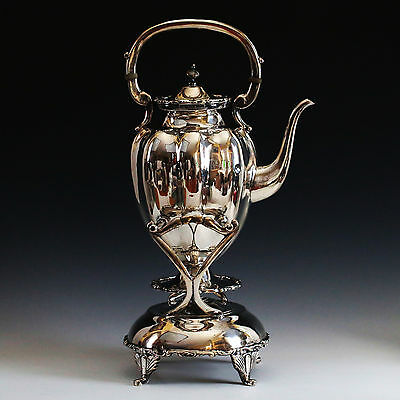 925 Sterling silver tea Kettle pot Stand & Spoon with spirit burner Mexico OCM