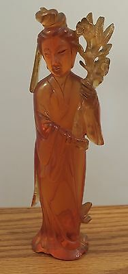 "Vintage Chinese carved statue woman 250 grams 8"" tall amber?"