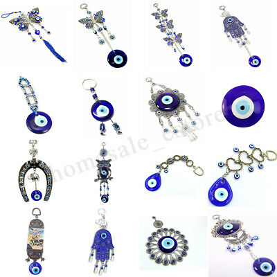 Turkish Blue Glass Evil Eye Hamsa Hand Amulet Wall Hanging Home Lucky Protection