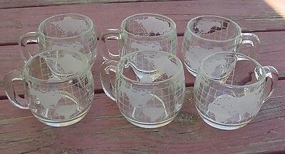 NESTLE NESCAFE Vintage 1970's Etched Glass World Globe 6 Coffee Mugs Cups