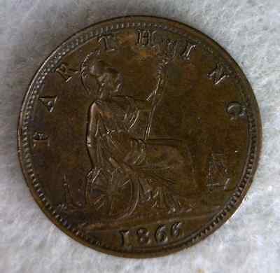 GREAT BRITAIN FARTHING 1866 XF/AU  BRITISH COIN (stock# 0601)