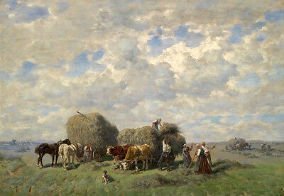 Huge Oil painting Transport hay busy farmers with carriage Oxcart in landscape