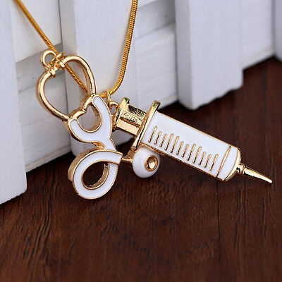 NEW Alloy Medical Stethoscope Charm Syringe Pendant Necklace Chain Women Jewelry