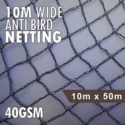 Anti Bird Netting Black 40gsm Fruit Plant & Crop Protection 10m x 50m