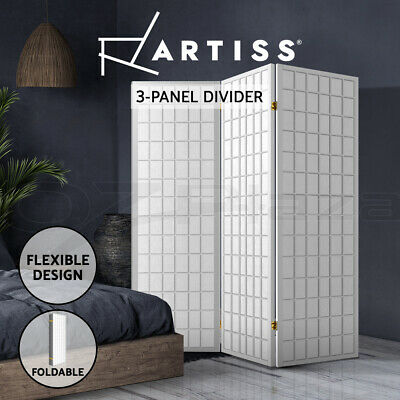 Artiss 3 Panel Room Divider Screen Wood Timber Dividers Fold Stand Wide White