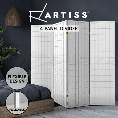 4 Panel Room Divider Living Bed Solid Wooden Timber Fold Screen Stand Wide White